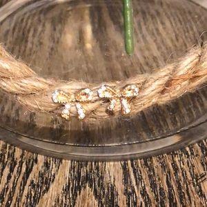Jewelry - Gold & Rhinestone Bow Earring Studs